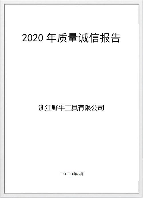 2020年质量诚信报告